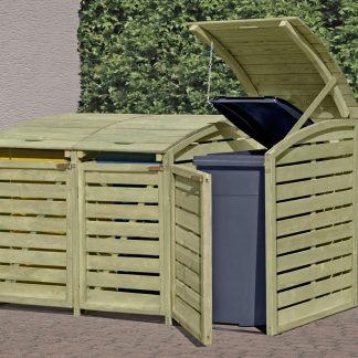 Holz Mülltonnenbox für 3 x Mülltonnen 240 Liter kdi