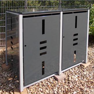 Mülltonnenbox Metall für 2 Mülltonnen mit Klappdeckel anthrazit