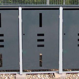 Mülltonnenbox Metall für 3 Mülltonnen mit Klappdeckel anthrazit