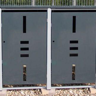 Mülltonnenbox Metall für 4 Mülltonnen mit Klappdeckel anthrazit