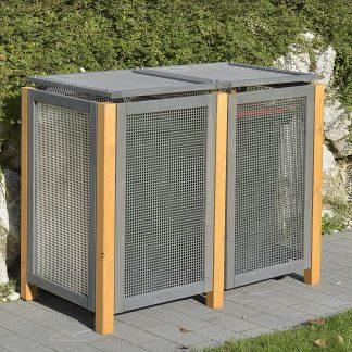 Alu / Holz Mülltonnenbox Kirchdorf für 2x Mülltonnen 240Liter