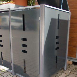 Mülltonnenbox für 1 Mülltonne mit Pflanzwanne anthrazit / Edelstahl