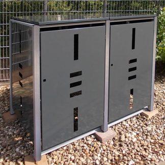 Mülltonnenbox für 2 Mülltonnen mit Klappdeckel anthrazit / Edelstahl