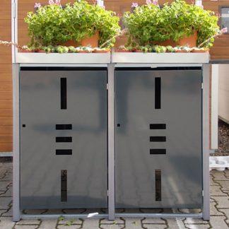 Mülltonnenbox für 2 Mülltonnen mit Pflanzwanne anthrazit / Edelstahl