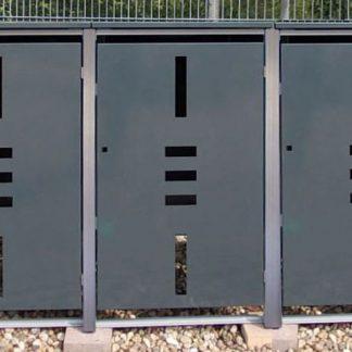 Mülltonnenbox für 3 Mülltonnen mit Klappdeckel anthrazit / Edelstahl