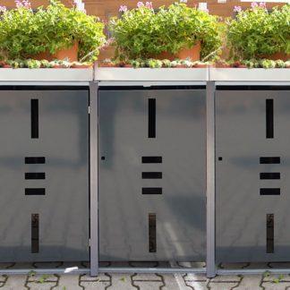Mülltonnenbox für 3 Mülltonnen mit Pflanzwanne anthrazit / Edelstahl