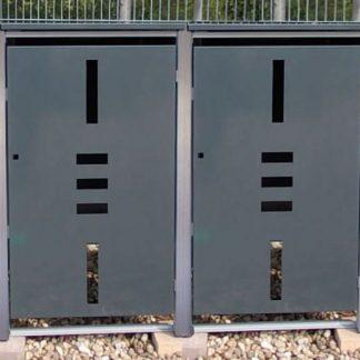 Mülltonnenbox für 4 Mülltonnen mit Klappdeckel anthrazit / Edelstahl