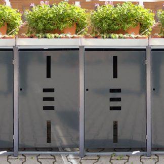 Mülltonnenbox für 4 Mülltonnen mit Pflanzwanne anthrazit / Edelstahl