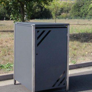 Mülltonnenbox für 1 Mülltonne mit Klappdeckel grau / Edelstahl