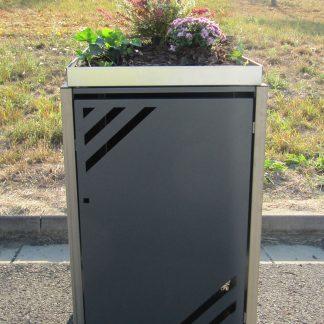 Mülltonnenbox für 1 Mülltonne mit Pflanzwanne grau / Edelstahl