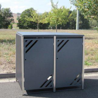 Mülltonnenbox für 2 Mülltonnen mit Klappdeckel grau / Edelstahl