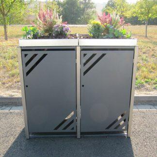 Mülltonnenbox für 2 Mülltonnen mit Pflanzwanne grau / Edelstahl