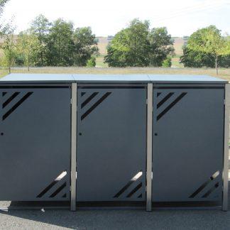 Mülltonnenbox für 3 Mülltonnen mit Klappdeckel grau / Edelstahl