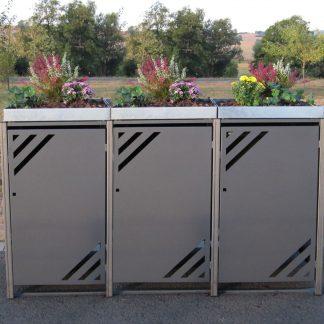 Mülltonnenbox für 3 Mülltonnen mit Pflanzwanne grau / Edelstahl