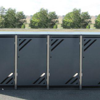 Mülltonnenbox für 4 Mülltonnen mit Klappdeckel grau / Edelstahl