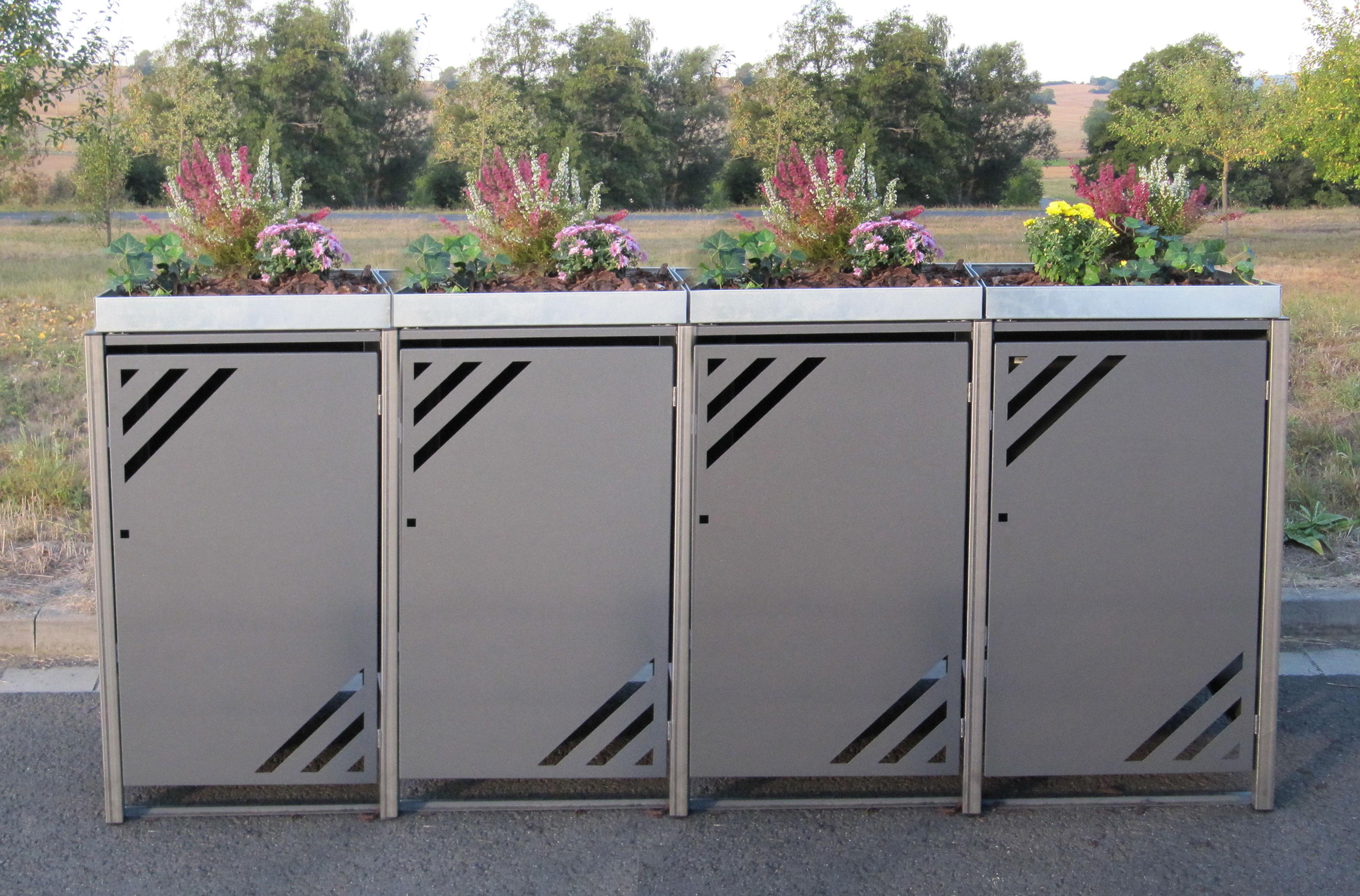 mülltonnenbox für 4 mülltonnen mit pflanzwanne grau / edelstahl