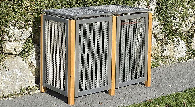 Mülltonnenbox Kirchdorf aus Holzgestell mit Alu-Seitenwänden von ediGarden